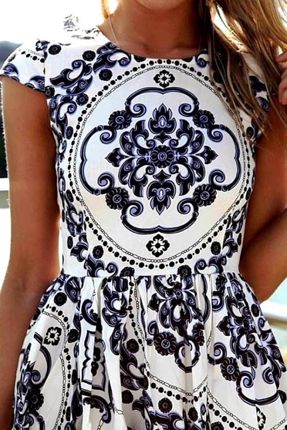 MODE THE WORLD: Printed White Dress