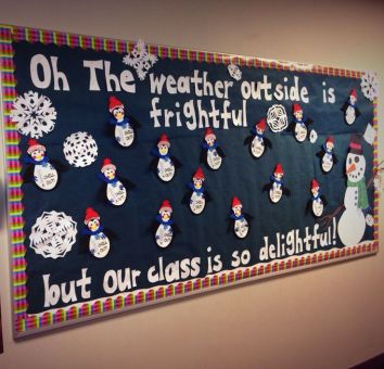 Winter snowman and snowflake classroom Bulletin Board