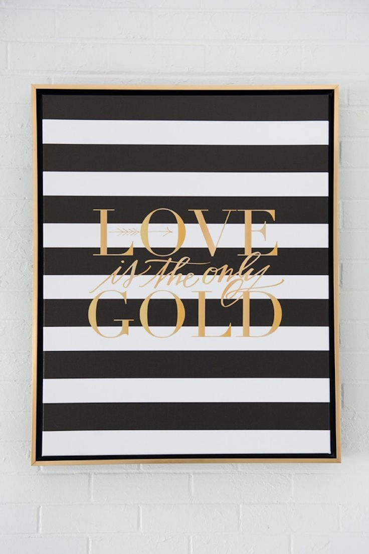 Black + gold print from lindsayletters.com | Read More: http://www.stylemepretty.com/2014/06/25/black-gold-artwork-inspired-wedding-details/ | Photography: hollibphotography.com | Styling: gibsonevents.com
