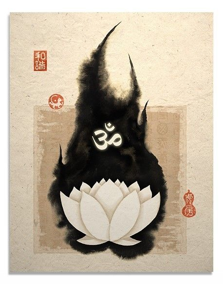 White Lotus and Om Symbol Art Print. $14.00, via Etsy.
