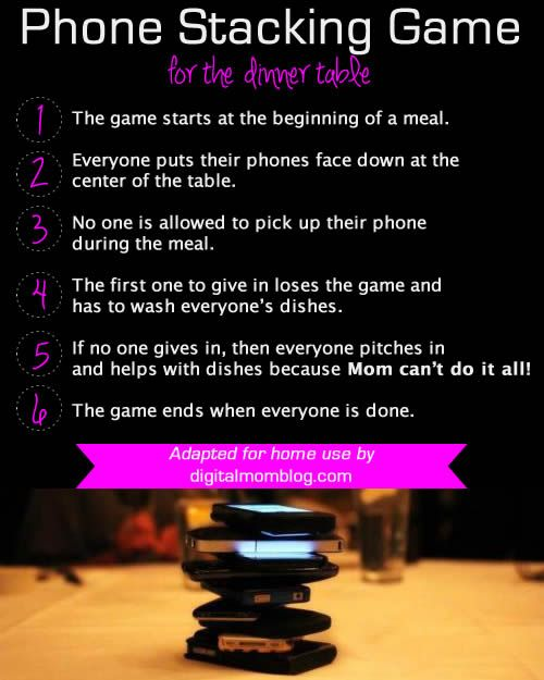 Phone Stacking Game for the Family Dinner Table - No phones on at the dinner table... or ELSE! #technology #family #phones