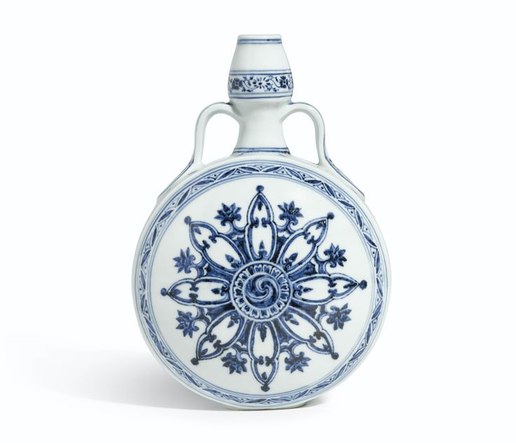 AN OUTSTANDING BLUE AND WHITE MOONFLASK<br>MING DYNASTY, YONGLE PERIOD | Lot | Sotheby's