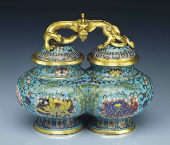 A rare cloisonné enamel double jar and cover, 18th century