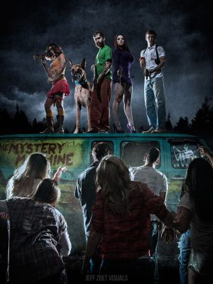Scooby Doo Velma and Daphne cosplayers in a dark and gritty apocalyptic setting. What I didn't know until today is that there's a whole set of cosplayers that came together to bring us this epic Walking Dead-style Scooby Doo universe! So on top of Velma and Daphne, we have Shaggy, Fred, Scooby, and a bunch of zombies!