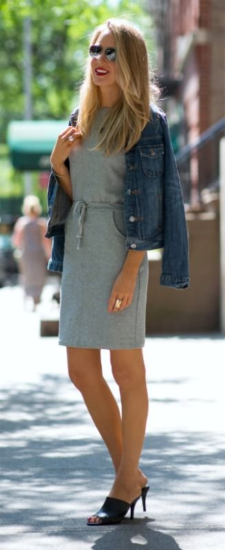 heather grey sweatshirt sheath dress, jean jacket + black mules