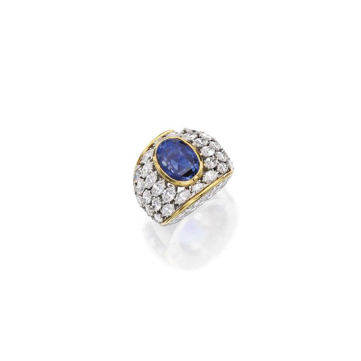 Platinum, 14 karat gold, sapphire and diamond ring, David Webb