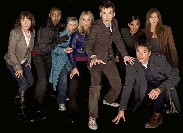 A picture that will NEVER be taken again! The 10th Doctor and his companions..  L to R: Sarah Jane, Micky Smith, Jackie Tyler, Rose Tyler, The 10th Doctor, Martha Jones, Donna Nobel and Captain Jack Harkness
