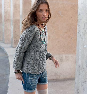 Modèle pull trapèze femme - Modèles tricot femme - Phildar