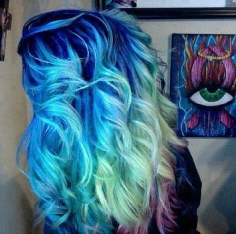 bright blue roots turquoise middle and mint green then light purple tips cool hair