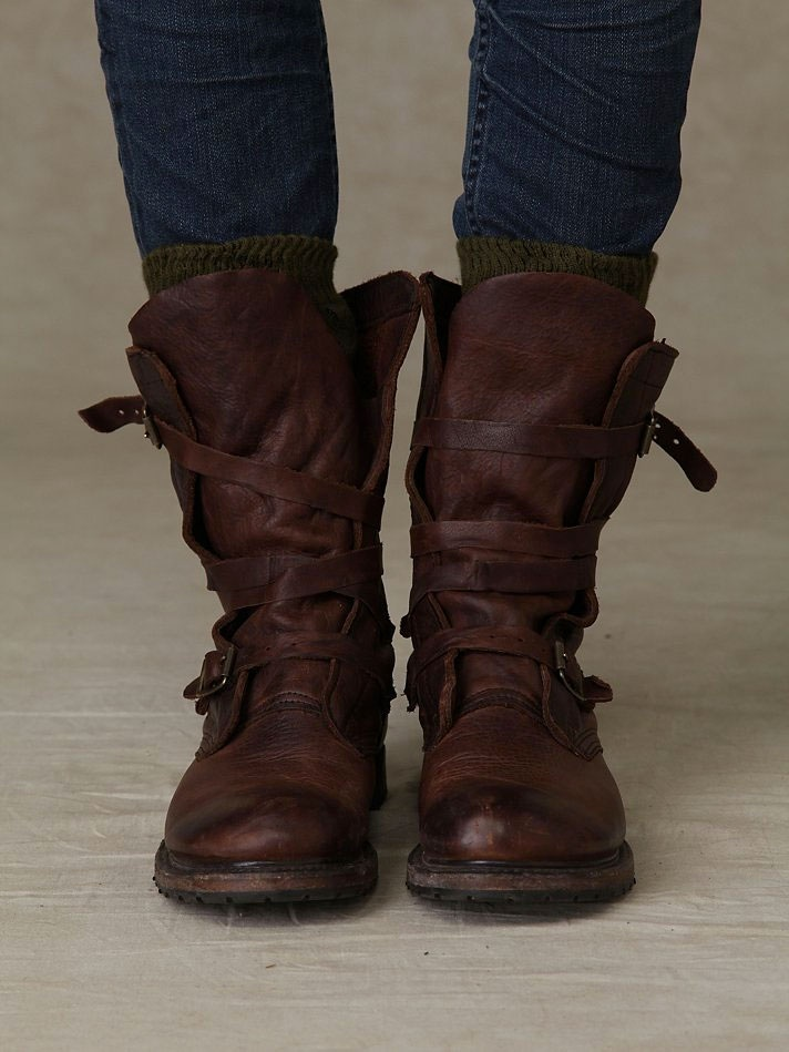 Rayna Wrap Boots by Free People :: (Super soft & supple) Leather wrap boot with buckle detailing on the side of either boot. Stacked wood heel. Rugged sole. ::