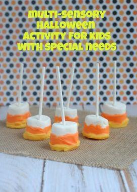 fun, easy, multi-sensory Halloween activity~candy corn marshmallow pops