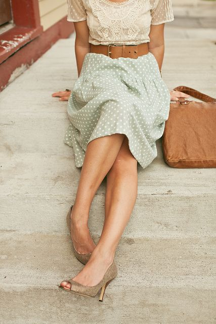 Mint polka dot skirt, with neutrals