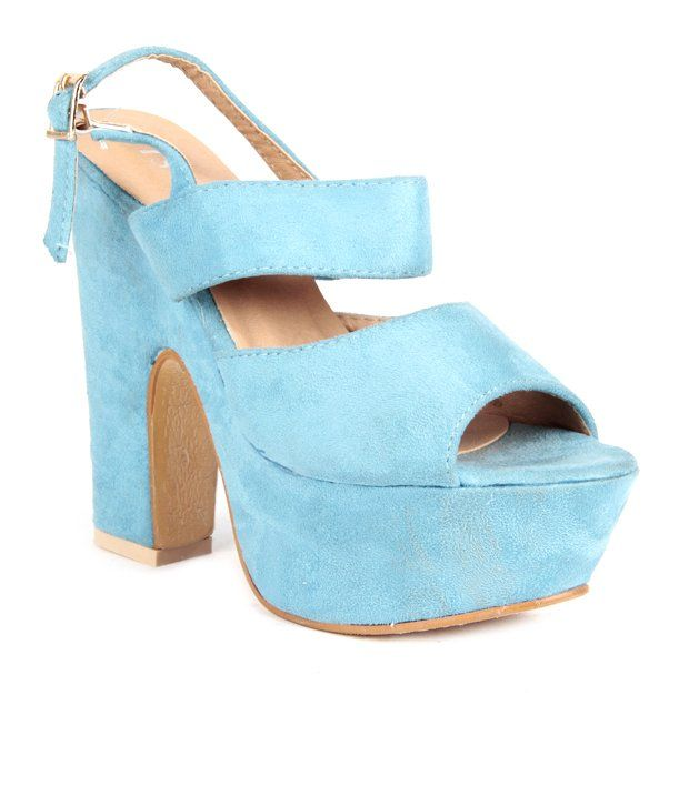 Buy Reyna Vivid Blue Heeled Sandals Online- Shopclues.com ...