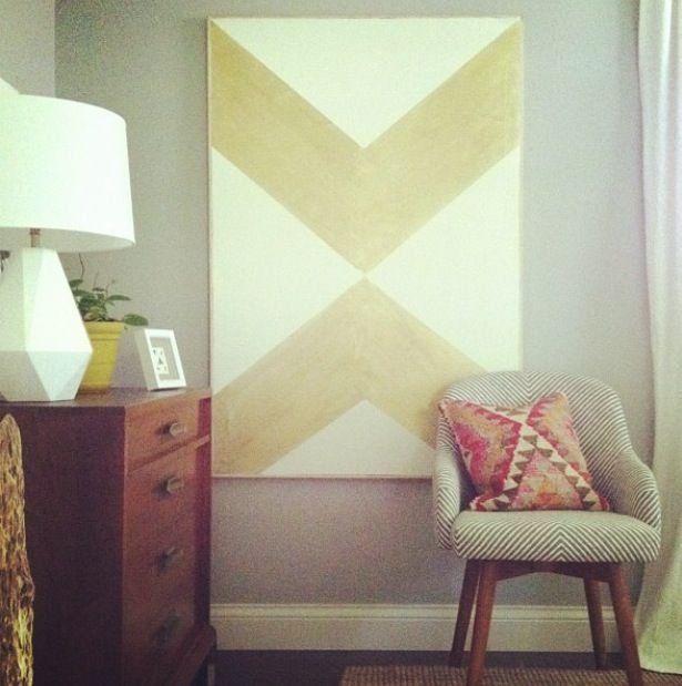 DIY gold on white canvas. Simple art DIY . Home decor.