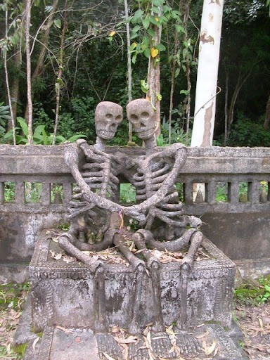 In love even after their death, must really stand out at the cemetery.