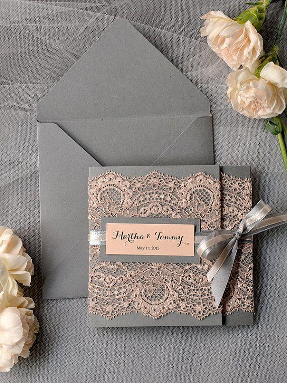 Peach Wedding Invitations, Lace grey and Peach invitation, Vintage Wedding Invitations