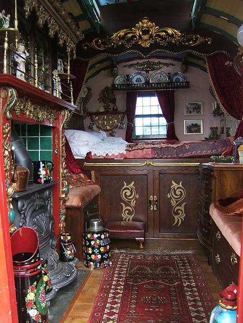 Gypsy living Traveling In Style |Caravan Gypsy Vardo Wagon: interior | Serafini Amelia