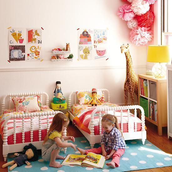 mommo design - SHARED ROOMS - TWIN GIRLS bedroom design shared by www.twinsgiftcompany.co.uk add a Noah's Ark to this for the finishing touch click here to buy http://www.twinsgiftcompany.co.uk/noahs-ark-two-by-two-p-149.html