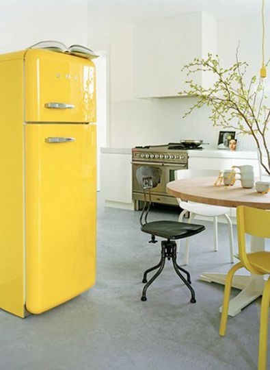 A pop of yellow in the kitchen makes any day bright and