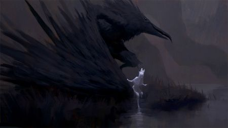 Moon and Crow - dawnserene.wordpress.com
