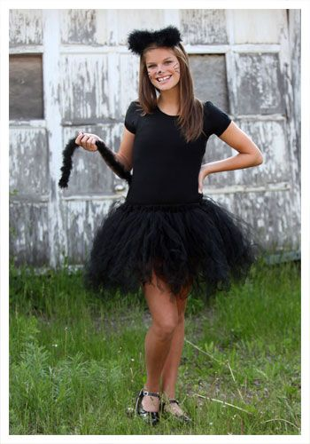Teen Tutu Black Cat costume...could easily make this with a black leotard, tie-knot black tutu skirt.