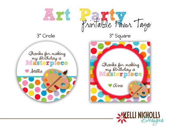 Art Birthday Party Favor Tag, $8.00- For A's paint party
