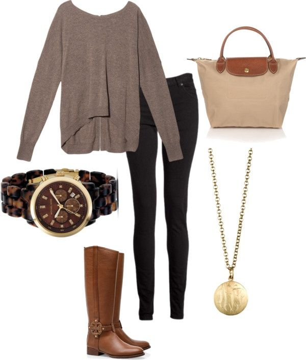 fall uniform; otte nyc cashmere sweater, maison martin pants, longchamp short-handled tote, tory burch riding boots, monogrammed necklace, mk tortoise watch