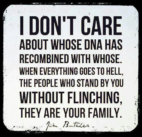 I don't care about whose DNA has recombined with whose. When everything goes to hell, the people who stand by you without flinching, they are your family.