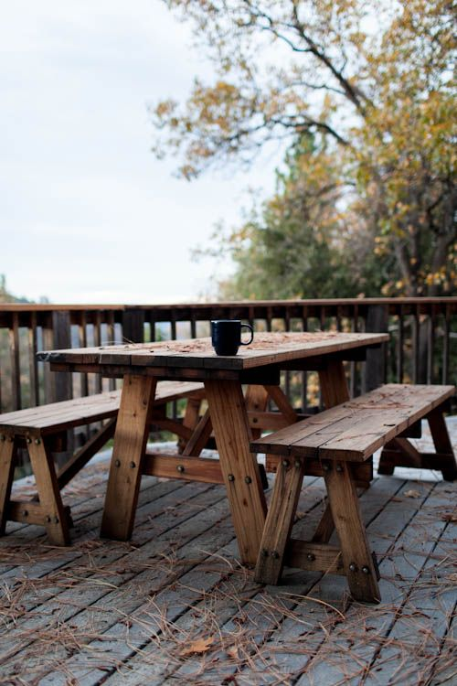 Rustic picnic table