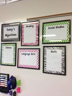 I finally found a cute way to post my objectives!!! Objectives clearly posted for each subject.. not that kinders can read the daily objectives but at least the admins would be pleased to see them displayed