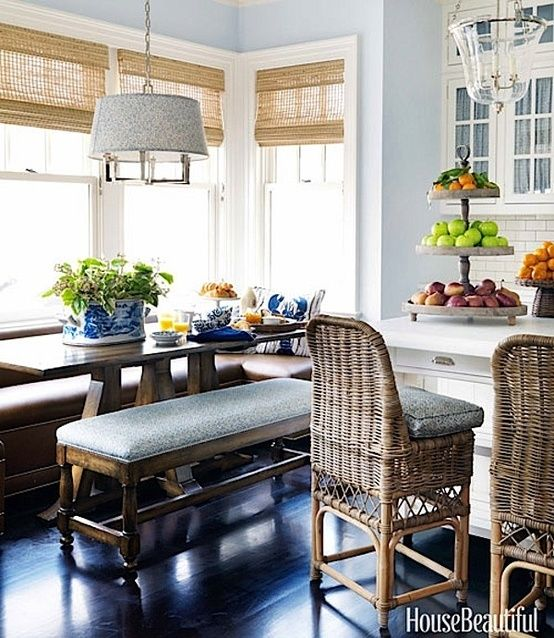 CHIC COASTAL LIVING/ wonderful textures and colors in this kitchen.