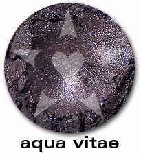 "Aqua Vitae is lush pool of smokey blue complexity with shimmers of deep pewter, burgundy and brilliant cobalt. From Aromaleigh's metallic mineral eyeshadow collection, ""ALCHEMIE"", based on v1's ""Elemental Lustre""."