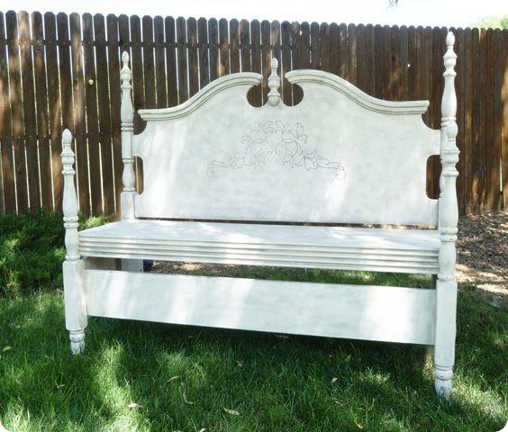 headboard garden bench Headboard Bench | Altered Art & Assemblage | Pinterest