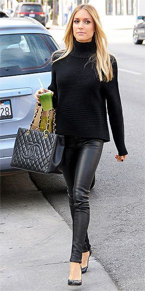 Black Leatherette Skinnies + Black Sweater #chic #outfit #black