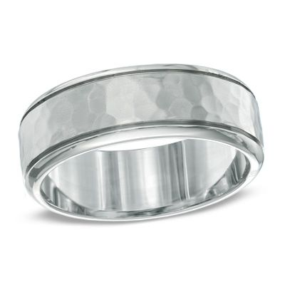 Men's 8.0mm Hammered Comfort Fit Wedding Band in Titanium-I Have no