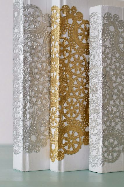 How to update old books with white paint, Mod Podge, and foil doilies! LOVE this idea!