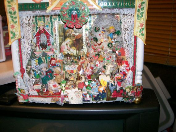 Christmas Diorama Scene VINTAGE One Of A Kind Lovingly