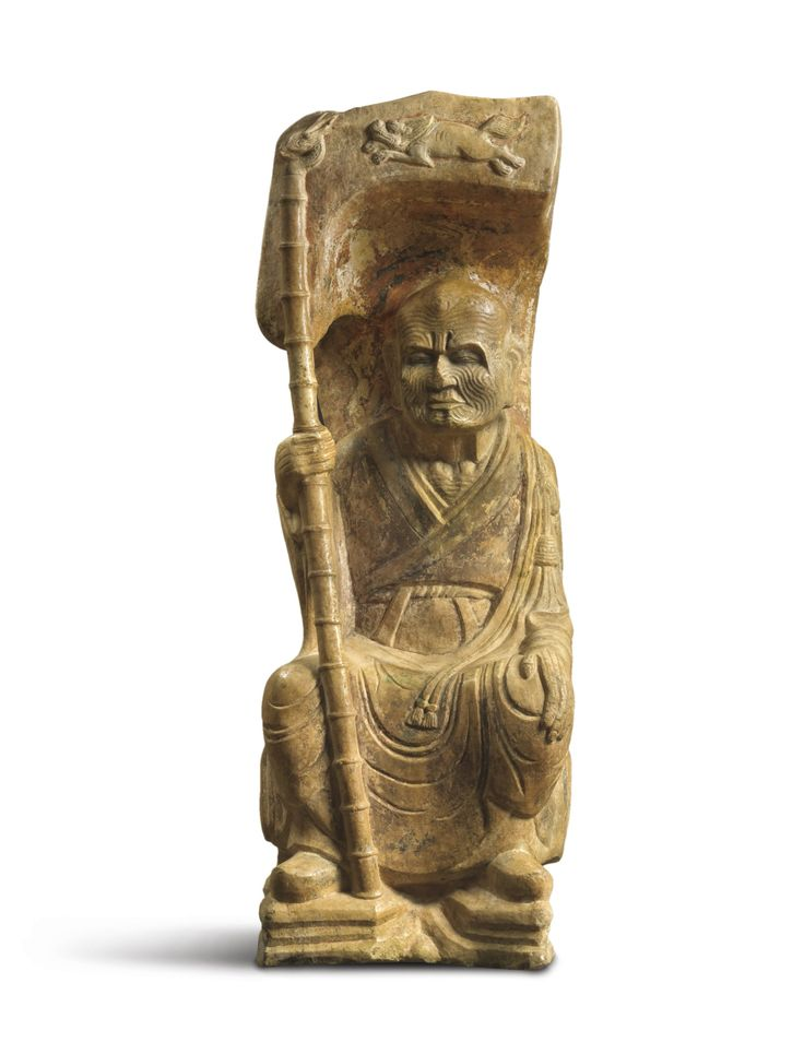 A stone carving of a Luohan, China, Liao-Jin dynasty or earlier