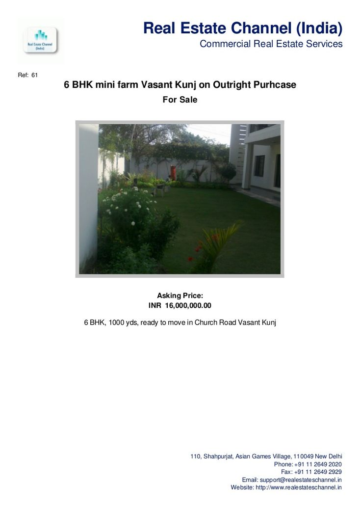 6-bhk-mini-farm-vasant-kunj-on-outright-purhcase by Real Estate Channel (India) via Slideshare