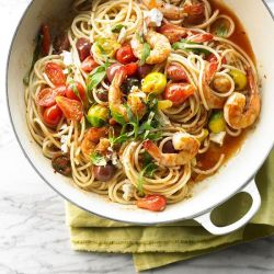 Bucatini with Shrimp and Spicy Cherry Tomato Pan Sauce from @Gayle Roberts Merry Homes and Gardens