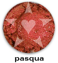 "PASQUA is a brilliant warm red frost with sparks of red.    CHIARA is an Aromaleigh v2 stock collection, inspired by the range of best-selling, frost eyeshadows of Aromaleigh v1, the ""Gothic Lolita"" Eyeshadow collection.    http://www.aromaleigh.com/newcshjetomi.html"