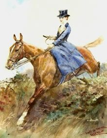 A lady jumping in the hunt field, by British sporting artist Lionel Edwards
