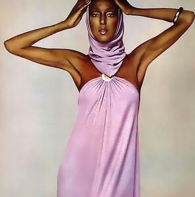 Billie Blair in Halston, 1979
