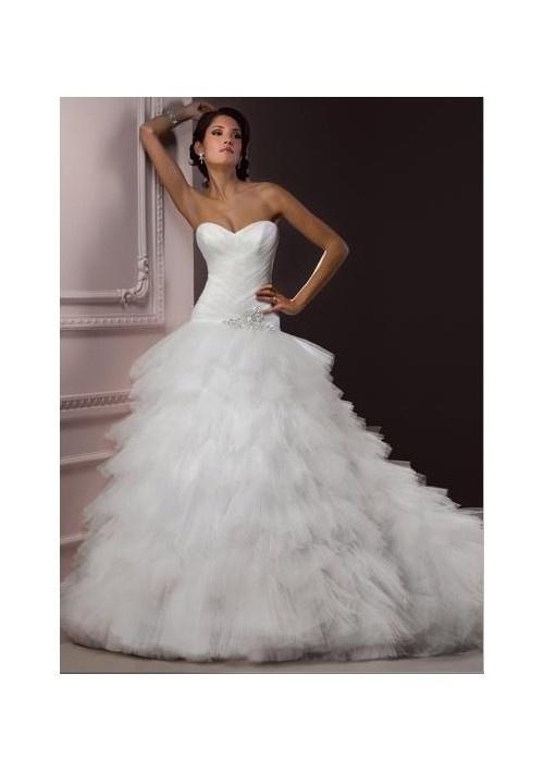 Tulle Strapless Sweetheart Neckline Ball Gown Ruffled Skirt Wedding Dress - Wedding Dresses - Wedding Dresses Shop