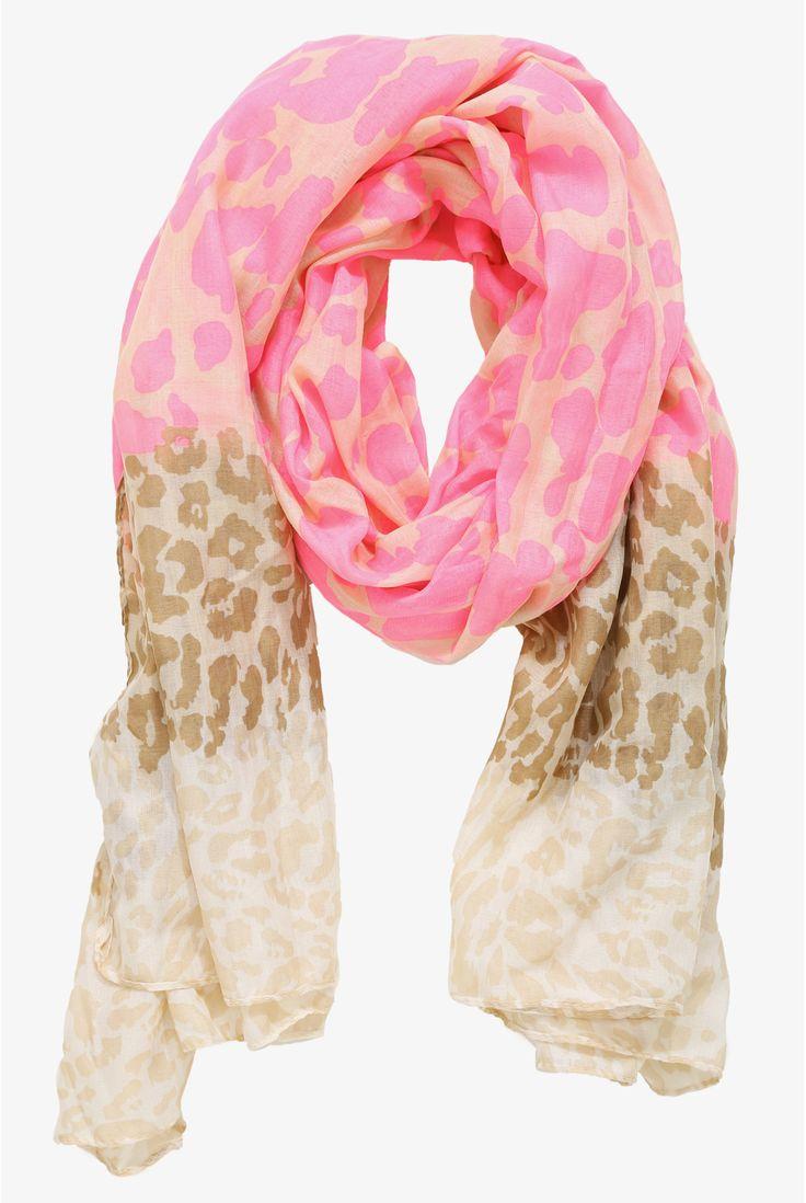 Beige & Neon Pink Leopard Scarf   Torrid