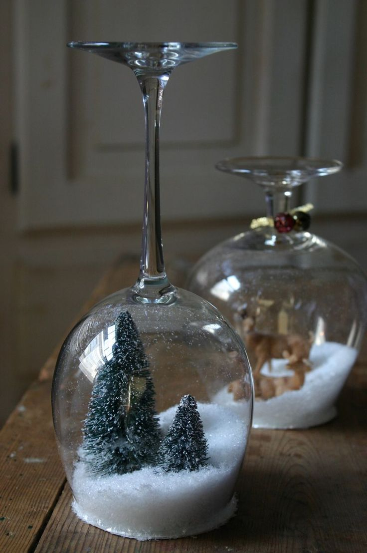 Stemware Snow-globes (put candles on top!)