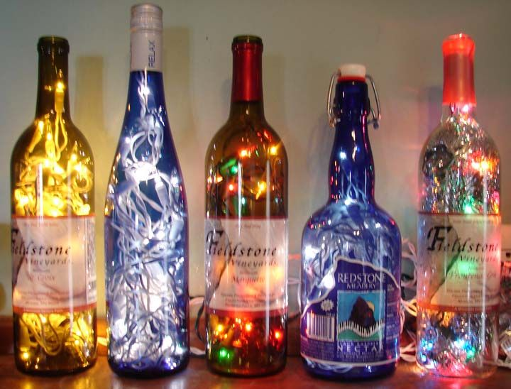 Christmas lights In bottles