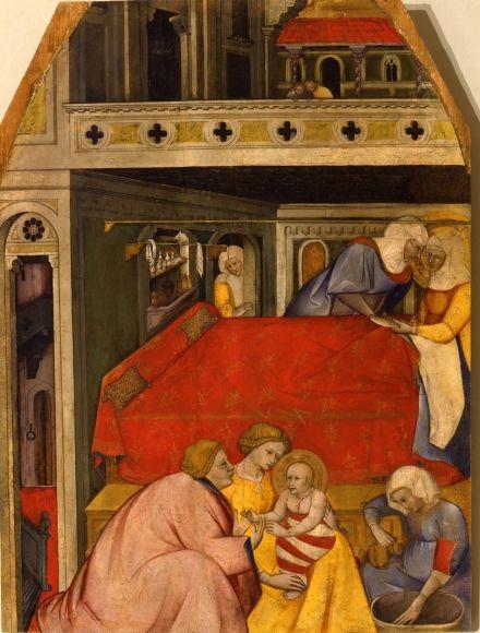 Cennino Cennini La Nativité de la Vierge 1390-1400 Inv 317 tempera sur panneau, 86 x 67 cm Siena, Pinacoteca Nazionale (on temporary deposit at Colle di Val d'Elsa, Museo Civico e Diocesano d'Arte Sacra)