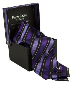 Pierre Roche Mens Tie, Handkerchief & Cufflink Set Matching Gift Box Set: Amazon.co.uk: Clothing