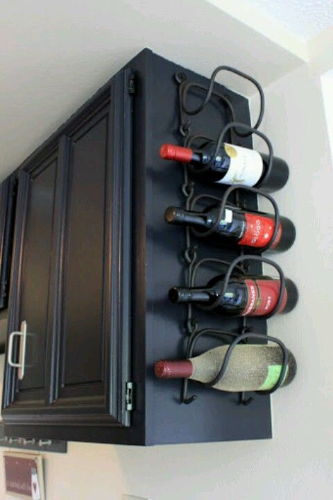 wine rack attached to cabinet